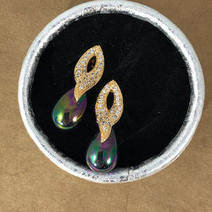Gem Empourium Jewelry - 14K Yellow Gold Plated with 9MM Black Pearl Drop